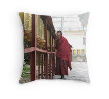 Monk with prayer wheels Throw Pillow