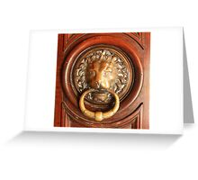 An Elegant Lion Door Knocker in Arles Greeting Card
