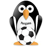 Penguin with soccer ball Photographic Print