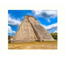 Ancient Mayan Pyramid Ruins At Uxmal In Mexico Art Print