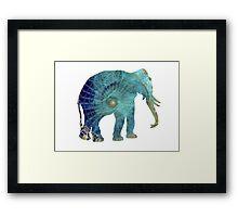 Elephant blue maps Framed Print