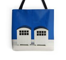 Beach cabins in white and blue Tote Bag