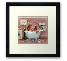 Miss Suzy Takes a Bath Framed Print