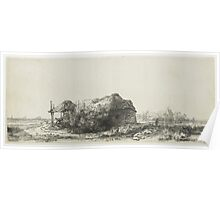 Drawing - Landscape with Farmhouse and Haystack, Rembrandt Harmensz. van Rijn, 1641  Poster