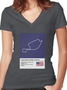 Long Beach Street Circuit - v2 Women's Fitted V-Neck T-Shirt