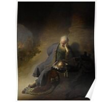 Painting - Jeremiah Lamenting the Destruction of Jerusalem, Rembrandt Harmensz. van Rijn, 1630  Poster