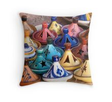 Pots in a Moroccan market Throw Pillow