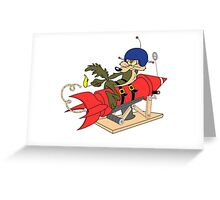 Wile e coyote launching red rocket poster geek funny nerd Greeting Card