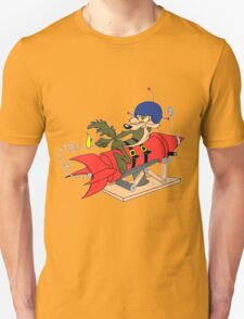 Wile e coyote launching red rocket poster geek funny nerd T-Shirt