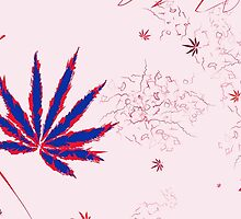 Crazy Marijuana Leaves and Scratches on Pink by NataliSven