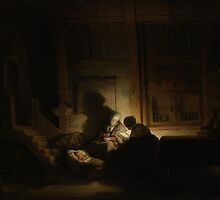 Painting - The holy family at night, workshop of Rembrandt Harmensz. van Rijn, c. 1642 - c. 1648  by wetdryvac