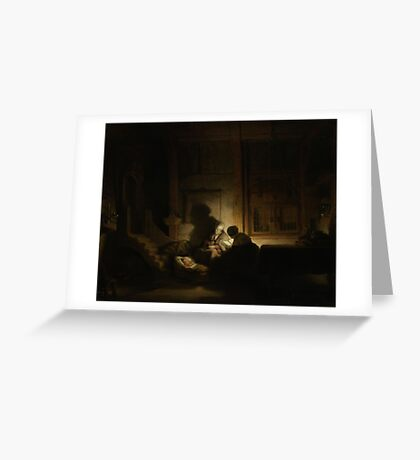 Painting - The holy family at night, workshop of Rembrandt Harmensz. van Rijn, c. 1642 - c. 1648  Greeting Card
