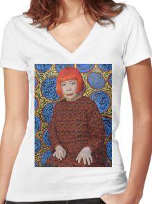 Yayoi Kusama Women's Fitted V-Neck T-Shirt