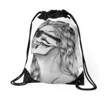 Woman skull glasses Drawstring Bag
