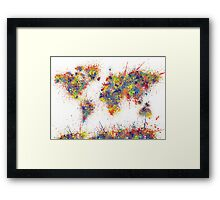 World Map splats Framed Print