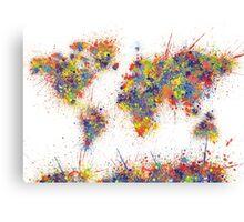 World Map splats Canvas Print