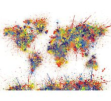 World Map splats Photographic Print