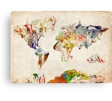 World Map landmarks 3 Canvas Print