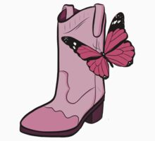 Pink Cowgirl Boot & Butterfly One Piece - Short Sleeve