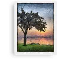 A Sunrise and A Tree Canvas Print