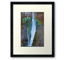 Desert Falls Abstract Patterns and Colors, Calf Creek Falls, Utah Framed Print