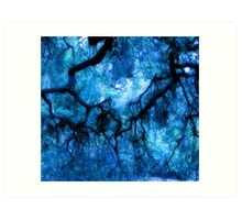 Abstract Landscape – Composition  in Blues: Branches Cascading Downward  Art Print