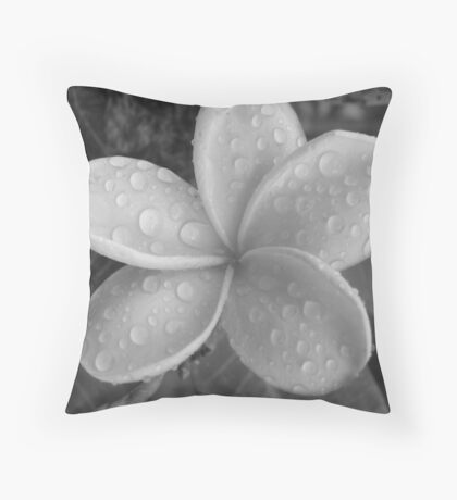 Whispery Drops-(B&W) Throw Pillow