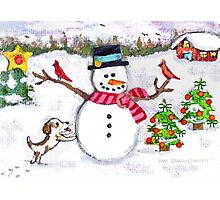Christmas Snowman With Dog and Cardinals Photographic Print