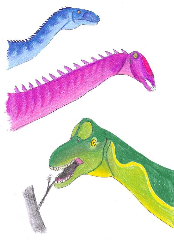 Plateosaurus, Apatosaurus and Brachiosaurus by subhumanfreak