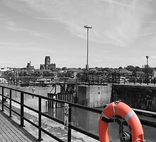 Life ring with cathedral in the background - Liverpool by MikePhotos