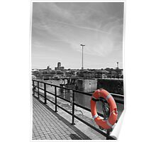 Life ring with cathedral in the background - Liverpool Poster