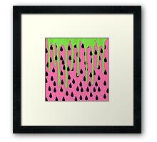 Funky Watermelon Neon Green Paint Drips Framed Print