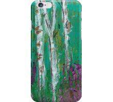 Birch Trees in a Lavendar Field iPhone Case/Skin