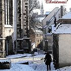 Christmas Card - Snow in Town by Caroline  Lembke
