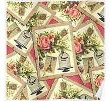 Vintage Rose, Eiffel Tower, & Bird Cage Postcard Poster