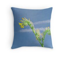 Desert Wildflower against Contrail Sky Throw Pillow