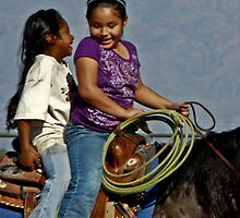 Giggly girls on a horse by Linda Sparks
