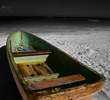 Green Paddle Boat, Playa Del Carmen, Mexico by Tom Fant