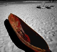 Red Paddle Boat, Playa Del carmen, Mexico by Tom Fant