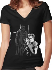 New Moon with Blade Vampire Killer Women's Fitted V-Neck T-Shirt