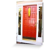 Red Door Corn Decoration Greeting Card