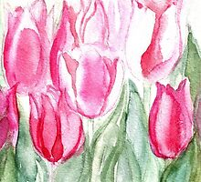 SOFT SHADES OF PINK - ADORABLE PINK TULIPS by RubaiDesign