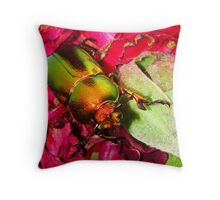Merry Christmas Beetle Throw Pillow