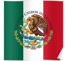 Flag of Mexico (augmented scale) with Coat of Arms (overlaid) Poster