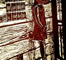 "French Girl -  Woodcut Print by Belinda ""BillyLee"" NYE (Printmaker)"
