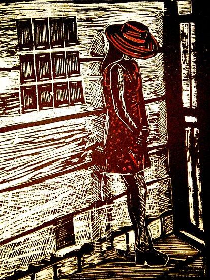 "French Girl -  Woodcut Print by Belinda ""BillyLee"" NYE (Printmaker)"