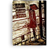 French Girl -  Woodcut Print Canvas Print