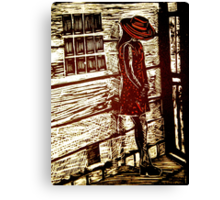 French Girl -  Woodcut Print Canvas Print