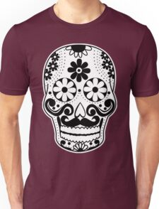 Black and White Mustache Sugar Skull Unisex T-Shirt