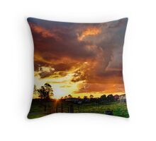 Of Rain, Sunset Cloud and Grass Throw Pillow